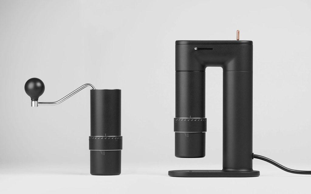 """Beide Teilde der Design 2-in-1-Kaffeemühle """"Arco"""". Mahlen per Hand oder elektrischer per Dockingstation. (Bild: Indiegogo)"""